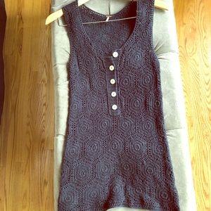 Free People Vintage Style Navy Crochet Top